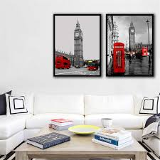 Nordic Retro Pictures Wall Art Canvas <b>London Big Ben Street</b> ...