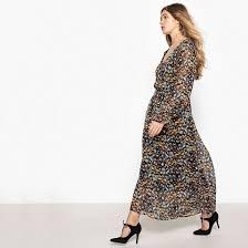 <b>Платье длинное</b> с цветочным рисунком и напускным эффектом ...