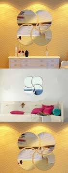 mirror wall decor circle panel:  d circles mirror puzzle home decor bell cool mirrors wall stickers home decor for living