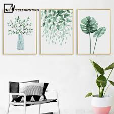<b>Scandinavian Style Watercolor Plant</b> Leaf Nordic Poster Nature Wall ...