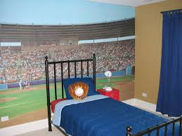 endearing boys bedroom ideas with soccer stadium wallpaper and single bed with high black iron head bedroomendearing styling white office