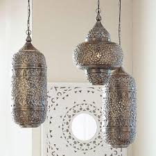 silver ornate lantern style pendant bohemian lighting