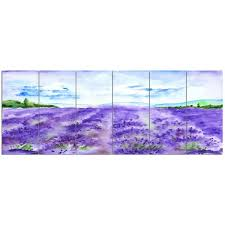 DesignArt 'Lavender Fields <b>Watercolor</b>' <b>6 Piece Oil</b> Painting Print Set ...