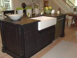 open kitchen design farmhouse: spectacular white single farmhouse sink and chrome arc kitchen faucet on wooden veneer espresso cabinets in open ideas backsplash wall