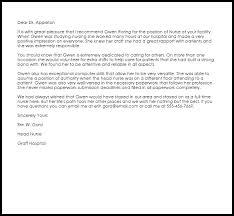 nurse recommendation letter  recommendation letters  livecareer nurse recommendation letter sample