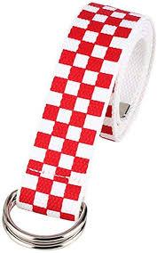 <b>Canvas Checkerboard Belts</b> Adjustable <b>Belt</b> Double D-Ring Silver ...