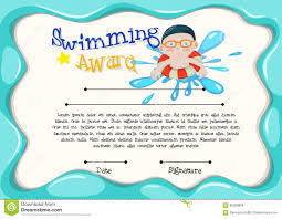 certification template of best swimmer stock vector image  certification template of best swimmer