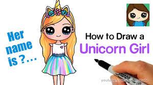 How to Draw a <b>Unicorn</b> Cute <b>Girl</b> Easy - YouTube