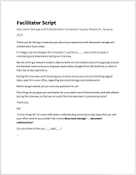 running contextual design research for service strategy my facilitator script that i used to open each interview