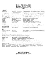 resume grant richards actor singer dancer click here to resume as pdf