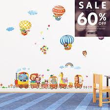manythings.online <b>Animal Train</b> and Hot Air Balloons <b>Wall Stickers</b> A ...