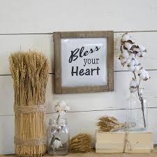 Bless your <b>Heart Metal</b> with Wood <b>Frame</b> Wall Plaque | Kirklands