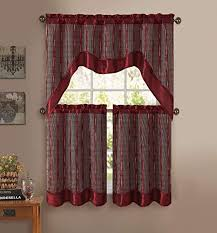 3-<b>Pc</b> Kitchen Window Curtain Set: <b>Double</b>-<b>Layer</b>, 2 Tiers, <b>1</b> Valance