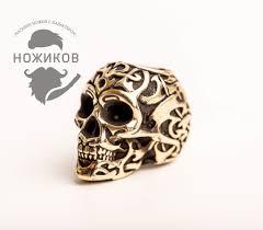 <b>Бусина Triball Skull</b>, мельхиор - купить в интернет магазине