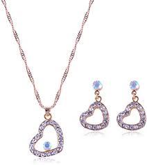 <b>Fashion Trend</b> 2PC Love Rhinestone Gemstone <b>Necklace</b> Earrings ...