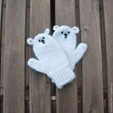 Купить Варежки для детей Полярный <b>мишка</b>, варежки вязаные ...