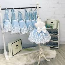 Blue Scoop Neck Sleeveless Lace Applique Short Flower <b>Girl Dresses</b>