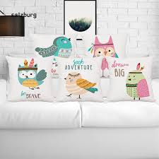 <b>HOT SALE Lovely</b> Cartoon Birds Owl Linen Cushion Cover Case ...