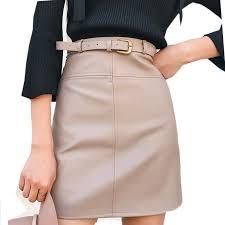 New Spring Beige Black <b>A Line</b> PU <b>Leather Skirt</b> For <b>Women</b> High ...