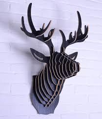 6 Colors DIY <b>Wooden</b> Animal Deer Head <b>Wall Hanging Creative</b> ...