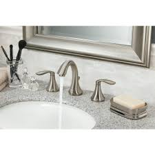 satin nickel bathroom faucets: widespread  handle high arc bathroom faucet trim kit in brushed nickel valve not included tbn the home depot