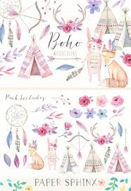 <b>Watercolor</b> Boho Clipart - Teepee/ Tent, <b>Bunny</b>, <b>Fox</b> - Baby Nursery Art