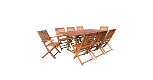 <b>9 Piece</b> Outdoor Dining Set <b>Solid Acacia</b> Wood - Matt Blatt