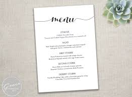 dinner party menu printable black menu template calligraphy style script instant diy in microsoft word 5 x 7 inches wedding dinner party