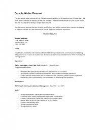 waitress resume objective waitress resume description waitress    experience examples for waitress