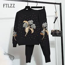 <b>Women</b> 2 Piece Set Clothing <b>Autumn</b> Winter Knit Embroidered ...