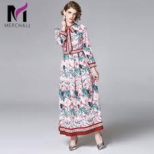 <b>Merchall</b> 2020 Spring <b>Summer Runway</b> Elegant Floral Print Long ...