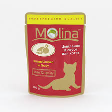 <b>Паучи Molina</b> для котят с цыпленком в соусе 100 г - купить в ...