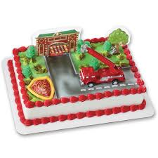 Firefighter Cupcake Decorations Amazoncom Fire Truck And Station Decoset Cake Decoration Toys