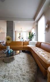 furniture brilliant decoration with vintage design with leather brown corner sofa and glass round coffee table brilliant mid century sofa