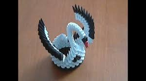 How to make 3d origami <b>black and white small</b> swan model1 ...