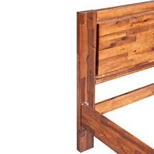 Festnight Vintage Wood <b>Bed Frame Solid Acacia</b> Wood Brown ,King ...