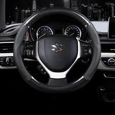 <b>Carbon Fiber</b> Leather Car Steering Wheel Cover <b>38cm</b> for Suzuki ...