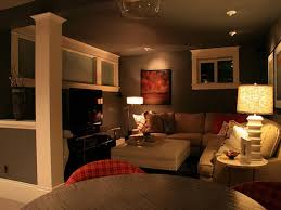 appealing l shaped sofa for simple basement decorating ideas enlightened by glorious table lamps awesome family room lighting ideas