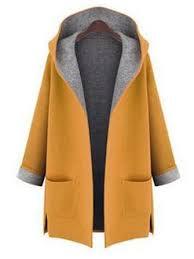 l-5xl <b>women solid color</b> autumn <b>winter</b> hooded pockets coats at ...