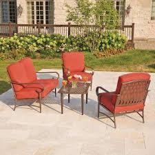 hampton patio furniture oak cliff  piece metal outdoor deep seating set with chili cushions