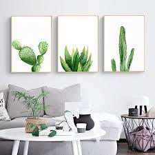 Watercolor <b>Plant</b> Cactus Decor Wall Art <b>Canvas Posters Prints</b> ...