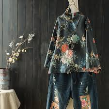 <b>Retro Ethnic Style</b> Printing Shirt <b>Women's</b> Spring and Summer ...