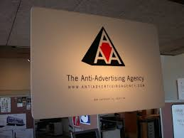 anti advertising agency interior sign anti advertising agency office