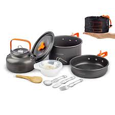 Overmont 1.95 Liter (Pot+ Kettle) Camping <b>Cookware Set 1-2</b> ...