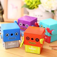 1pc Random Color Manual Pencil Sharpener Cute Robot <b>Cartoon</b> ...