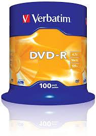 <b>Verbatim</b> 2330529 43549 <b>4.7GB 16x DVD</b>-<b>R</b> Matt Silver - 100 Pack ...