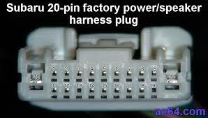 subaru 20 pin radio harness pin out subaru 20 pin factory radio harness plug front view pin numbers