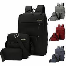 <b>3pcs</b>/<b>Set Men</b> Women Canvas <b>Backpack</b> Travel School Bag ...