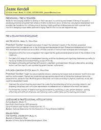 preschool teacher sample resume  socialsci copreschool