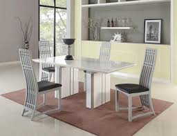 dining room designer furniture exclussive high: white high gloss extendable dining table with black seats chair